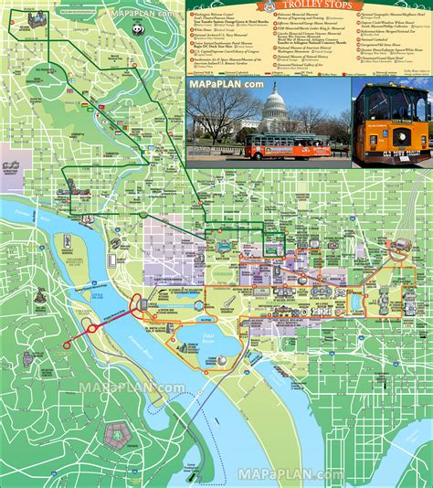 washington dc map museum washington dc map trolley tours stops itinerary planner