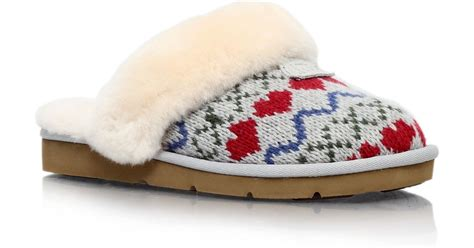 cosy knit ugg slippers ugg cosy knit printed slippers in grey lyst