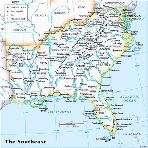 southeast us map map of the southeast region of the us images