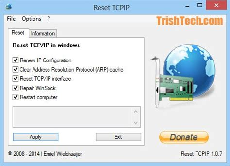 reset winsock tool resetting tcp ip stack in windows easily with reset tcpip tool