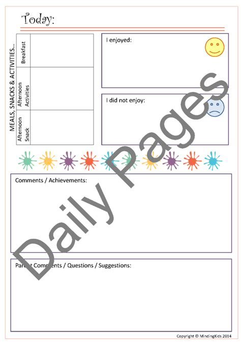 childcare contact diaries mindingkids gt gt 16 great