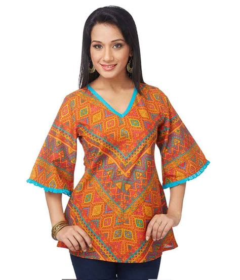 globus orange cotton knitted neck 70 on globus printed cotton 3 4th sleeves regular top on snapdeal paisawapas
