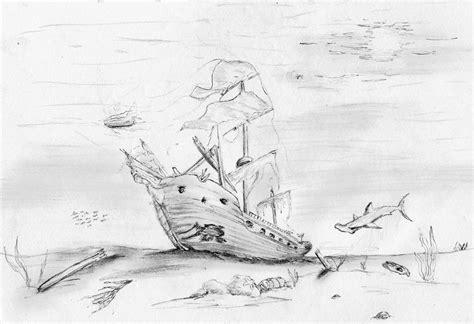boat underwater drawing sunken pirate ship drawing