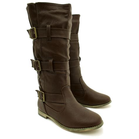 wide biker boots new womens flat leather style buckled wide calf biker