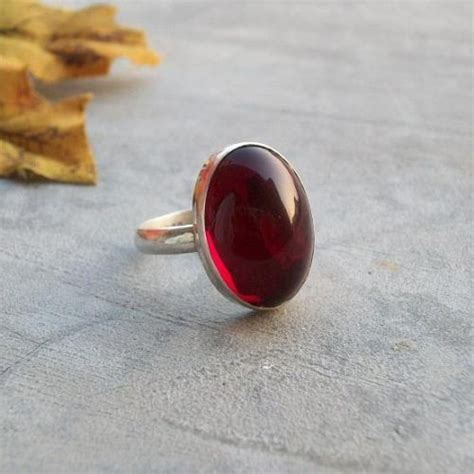 Buy Cabochon Garnet Ring, Red jewel ring, Silver garnet