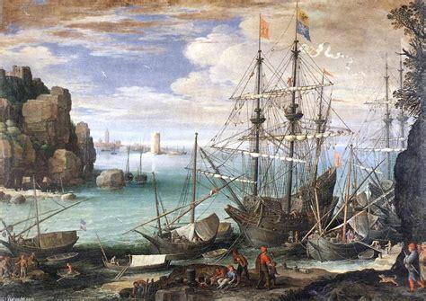 canapé pau veduta di un porto olio sopra tela di canapa di paul bril