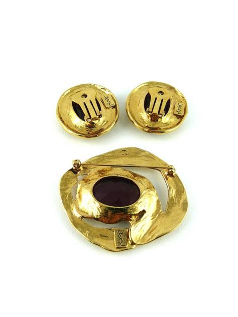 Ay Slvintage Set yves laurent ysl vintage amethyst earring and brooch