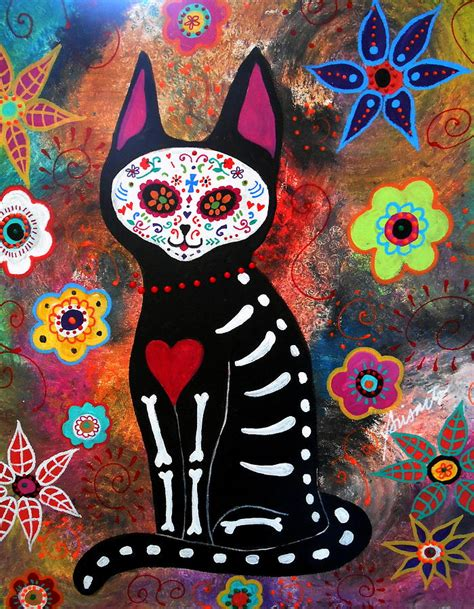 dead cat painting day of the dead cat el gato painting by pristine cartera