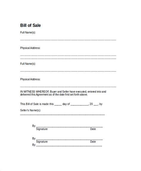 general bill of template word receipt used car sales private
