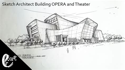 building sketch sketch architect building opera and theater in the