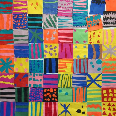 pattern artwork for kindergarten art paper scissors glue pattern collage art project