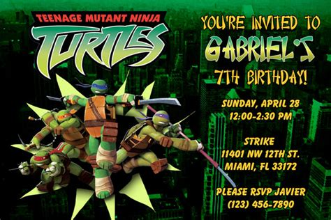 tmnt birthday card template free printable mutant turtles birthday