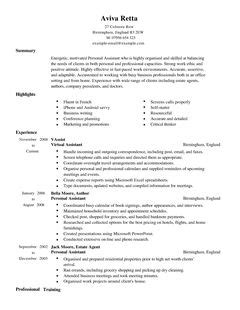 resume templates uk personal assistant cv exle for admin livecareer