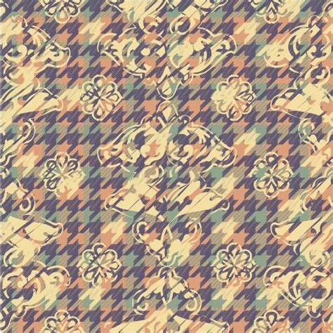 houndstooth pattern ai floral pastel color background with houndstooth pattern