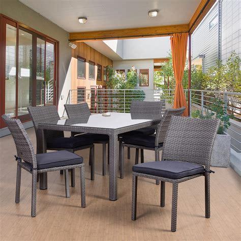 atlantic barbados  piece rectangular patio dining set grey