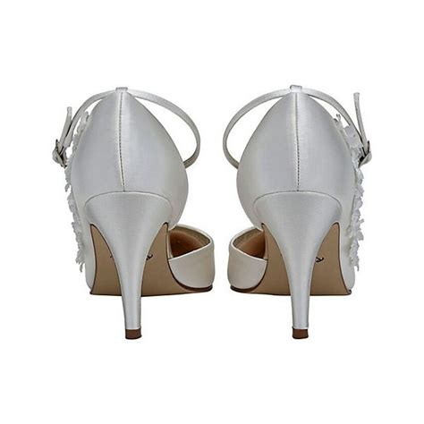 White Bridal Heels by White Bridal Heels Satin Floral Ankle Wedding Shoes
