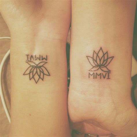 matching bff tattoos best friend tattoos lotus flower and year we met