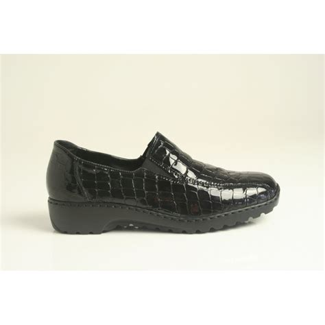 rieker slip on shoe in black soft printed patent leather