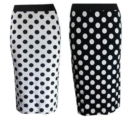 new black white polka dot print bodycon pencil midi