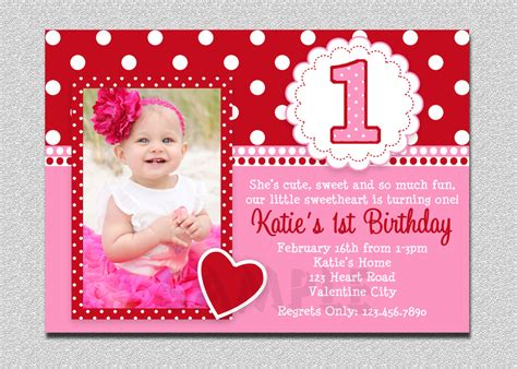 1st Birthday Invitation Card In Valentines Birthday Invitation 1st Birthday Valentines