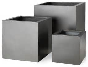 Modern Planters And Pots Imported Contemporary Fiberglass Cube Planters Modern