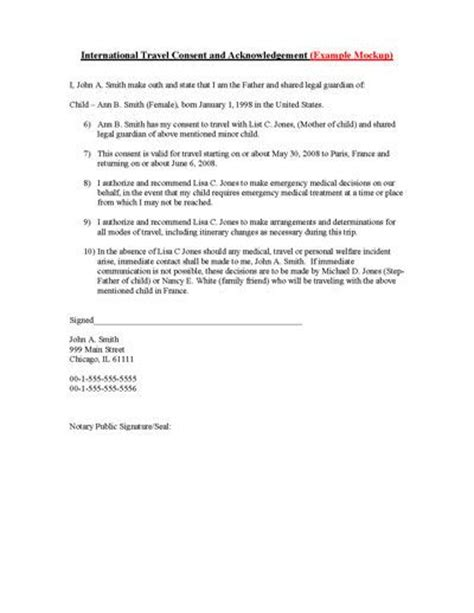 Parental Consent Letter International Travel Child International Travel Consent Form Free Printable Children And Travel