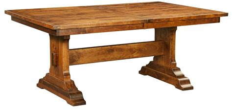 amish solid wood dining table amish rustic plank trestle dining table rectangle