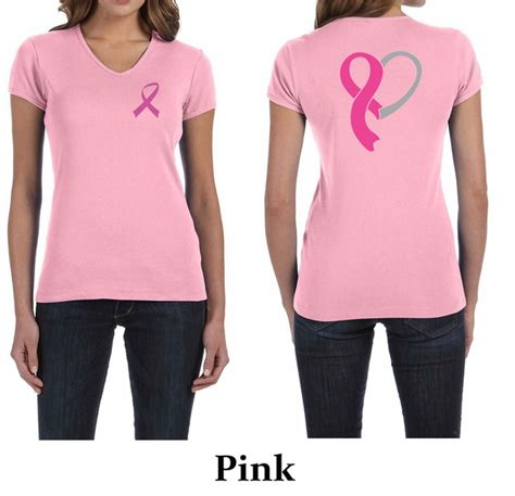 Ribbon Shirt Pink by Shirt Pink Ribbon Front Back Print V Neck