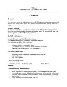 Professional Bartending Resume by Free Professional Bartender Resume Template Sle Ms Word