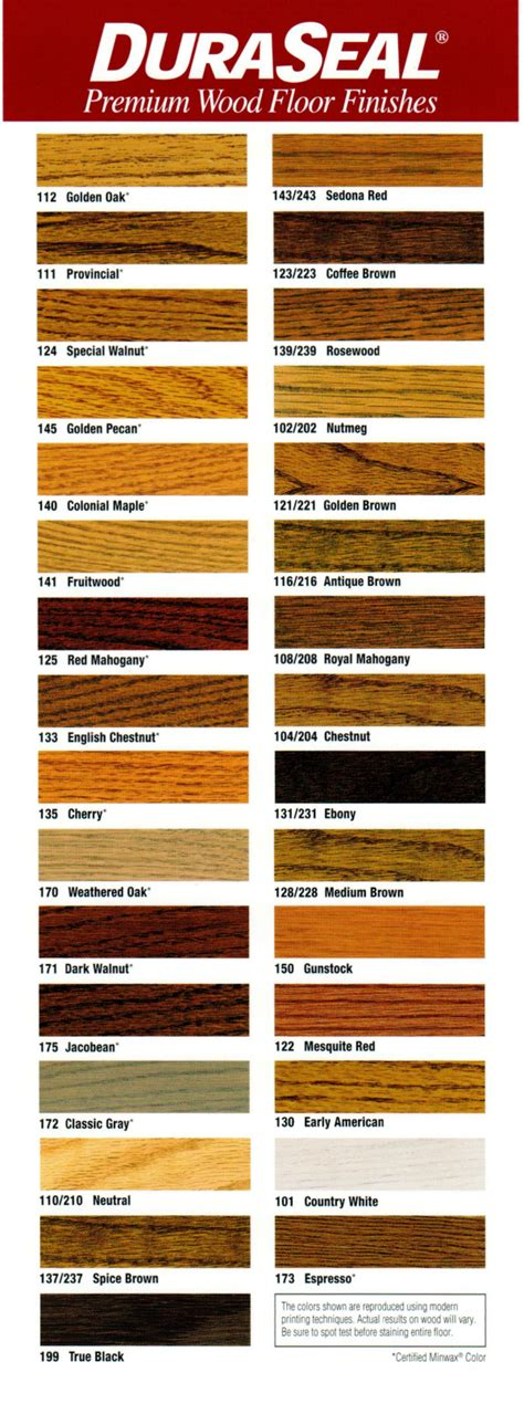 duraseal stain colors wood floor stain color chart by flanders wood floors 973