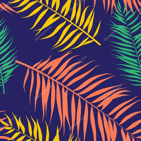 pattern color flat seamless color palm leaves pattern flat style stock