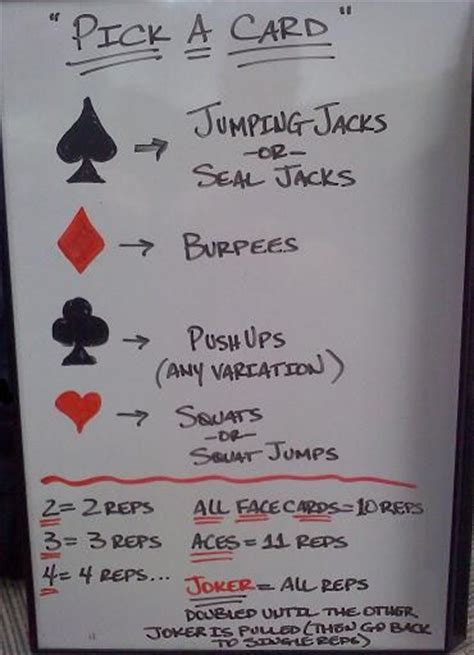 printable deck of cards workout 17 best images about deck workout awesome decks and workout