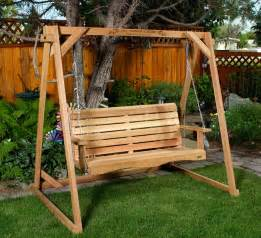 Wooden Patio Swing Kit Porch Swings By All Things Cedar Adirondack Swings