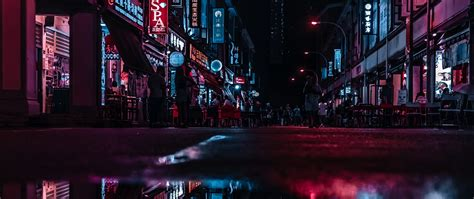 wallpaper city lights neon background hd
