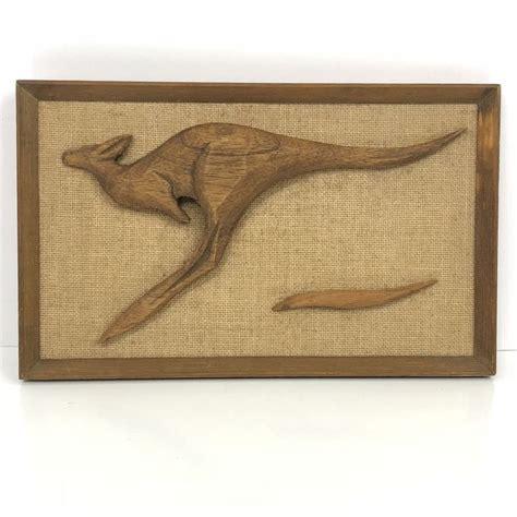 kangaroo teak wood wall art vintage mid century modern