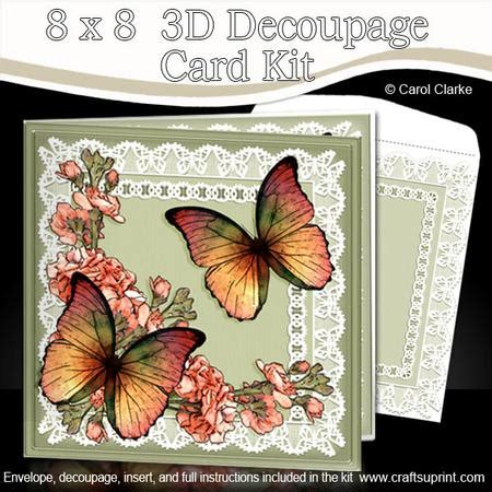 3d Decoupage Picture Kits - 8 x 8 butterflies flowers n lace kit with 3d decoupage