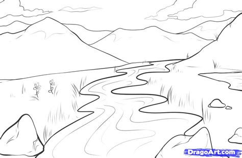 how to draw a field step by step landscapes landmarks