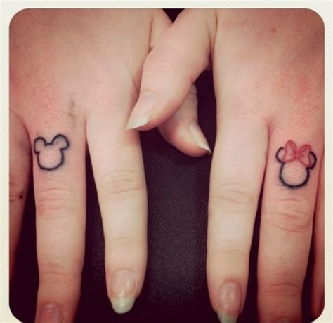 matching tattoos couples tumblr minnie mouse