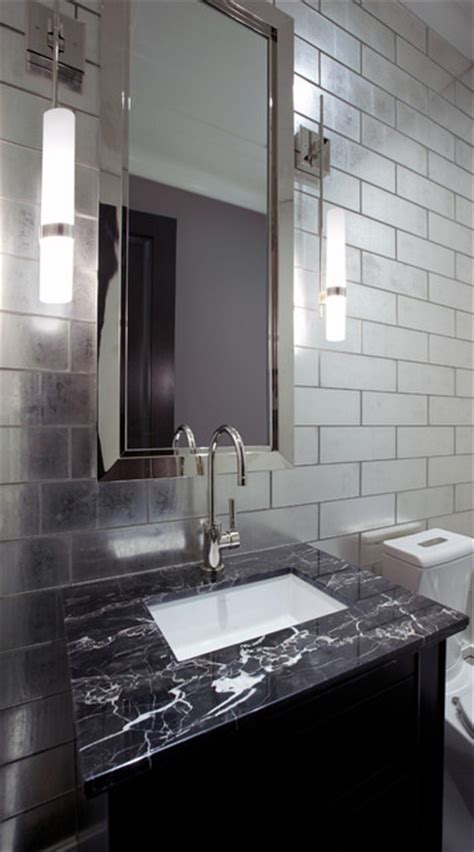 powder room with glass tile feature wall
