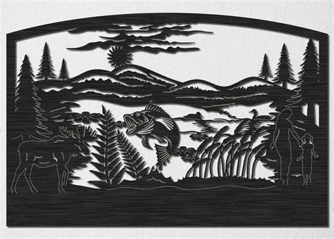 Bass Fishing Home Decor Lake Of Fish And Loons With Hills Moose And Trees Insert