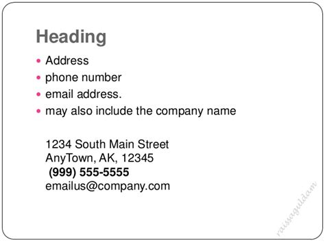 business letter address header the business letter