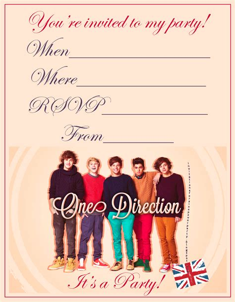 printable birthday invitations one direction invitations for sleepover party