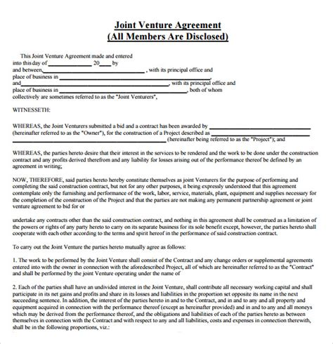 joint venture agreement template free joint venture agreement 8 free sles exles
