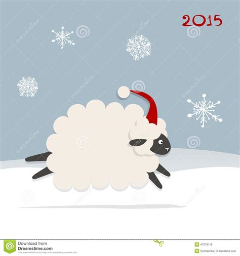 new year of the sheep vector sheep santa symbol of new year 2015 stock vector