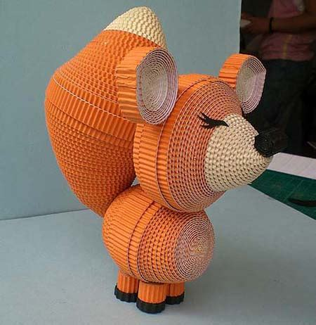 Origami Animals 3d - this quilled 3d fox is created by twisting thin strips of