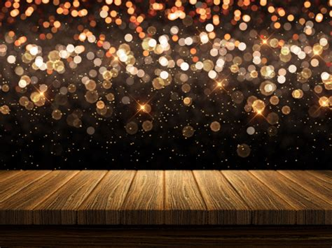 3D wooden table on Christmas bokeh lights background Photo Premium Download