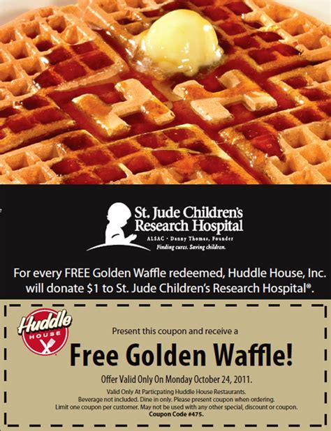 Huddle House Coupons by Free Golden Waffle At Huddle House On October 24 Deals