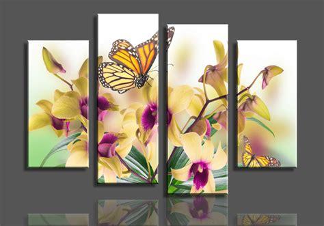 aliexpress buy 4 panels yellow phalaenopsis purple flower large hd picture canvas
