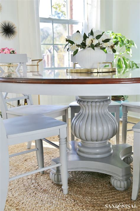 gray dining room table coastal dining room makeover sand and sisal
