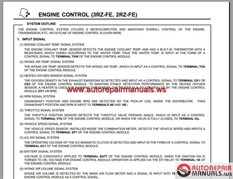 toyota engine 2rz fe 3rz fe ewd repair manual auto